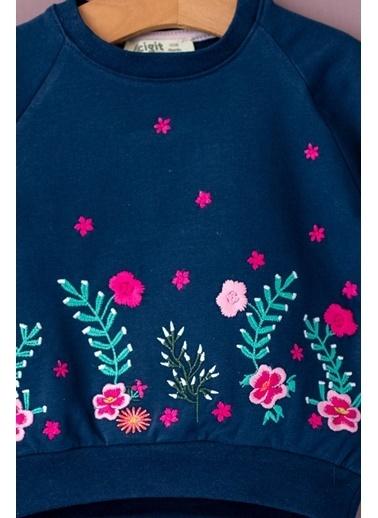 Cigit Flower Field Sweatshirt Lacivert